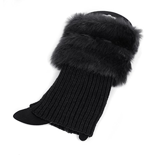 MIOIM Women Faux Fur Trim Knitted Winter Leg Warmers Ankle Boot Cuff Toppers ()