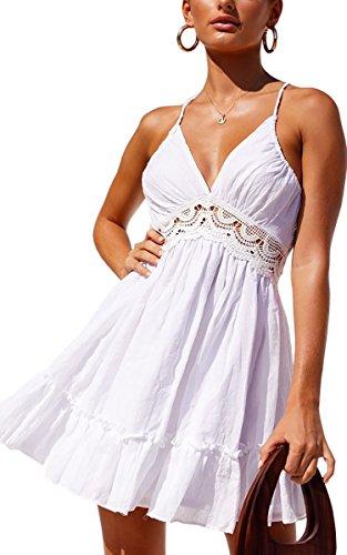 ECOWISH Womens Dresses V Neck Spaghetti Strap Backless Sleeveless Lace Mini Swing Skater Dress White2 ()