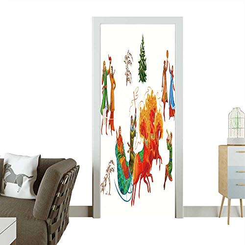 Homesonne 3D Photo Door Murals Christmas Celebrations,Dances,Songs in Winter Cheerful Holiday in Winter of People Easy to Clean and Apply W36 x H79 -