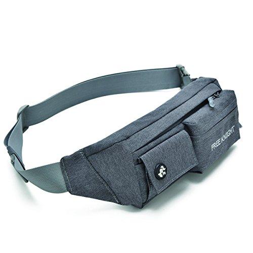 Buself Gürtel Tasche für Geld, Reisepass, Flugtickets und Handys bis 6,5 Zoll, Mehrzweckgürtel für Reisen, Shoppen, Angeln oder wenn Sie mit Ihrem Hund unterwegs sind (Grau)