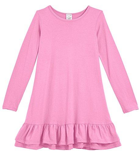 City Threads Little Girls' Cotton Jersey Long Sleeve A-Line Ruffle Hem Dress for School Play or Fun, Medium Pink, 4T