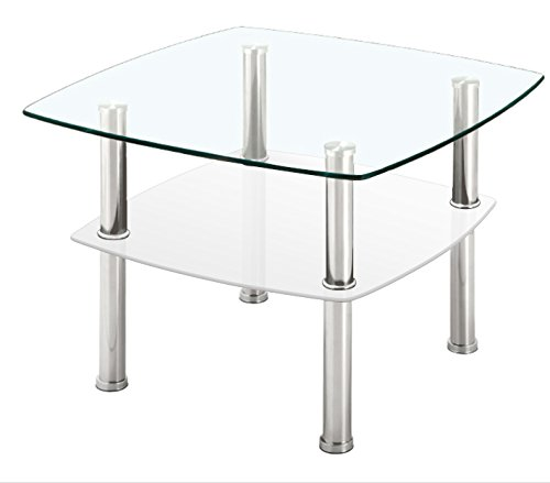 Fineboard Glass Coffee Table / Side Table 2 Tier, Glass Top and Silver Metal Legs (White) (Tier Side Two Glass)