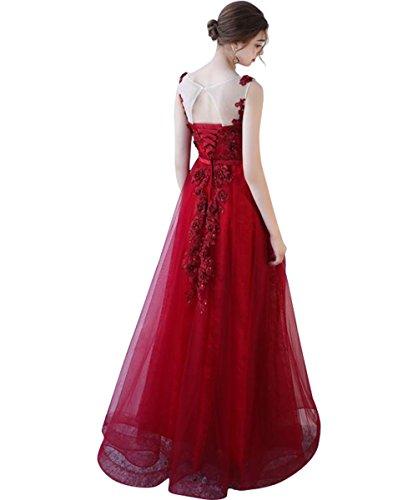 Fuchsie A Bodycon Abendkleid für 36 Damen Linie zurück Elegantes Blume Tüll Illusion Perlen mit Langes Ballkleider ZanwT