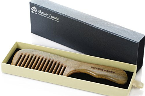 Green Sandalwood Hair Comb | Handmade Detangling and Anti-static with Natural Aroma | Premium Giftbox by Master Panda (Pocket Hair Dryer compare prices)