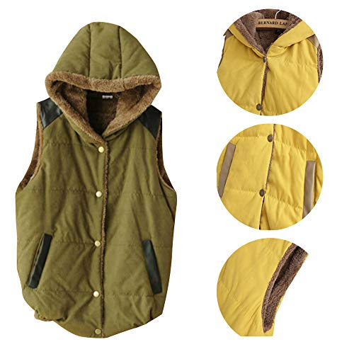 Jacket Vest Gilet Army BOZEVON Hooded Button Waistcoat Jacket Slim Womens Vest Winter Fleece Sleeveless Green wwqPS7