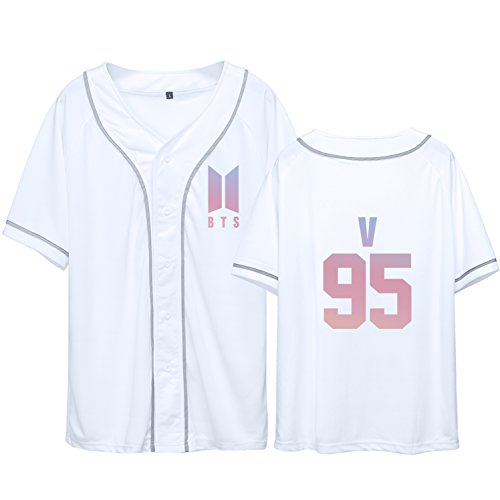 (Dolpind Bangtan Boys BTS baseball jersey Same Style T-Shirt SUGA JIMIN Jung Kook Tee Shirt XXL V 95 White)