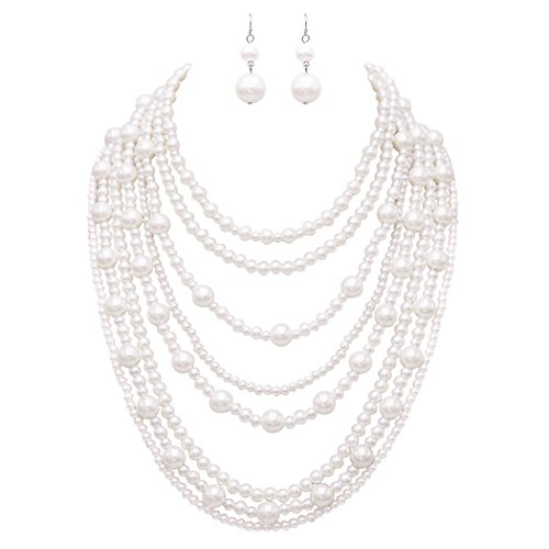 (Rosemarie Collections Women's Multi Strand White Faux Pearl Statement Necklace and Earrings Jewelry)