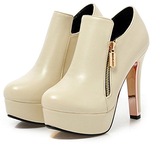 Easemax Women's Stylish Round Toe High Block Heeled Platform Short Ankle High Boots With Zipper Beige NPIajwwe1Y