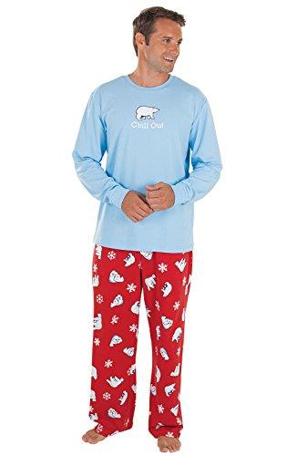 PajamaGram Novelty Mens Christmas Pajamas - Mens Holiday Pajamas, Cotton