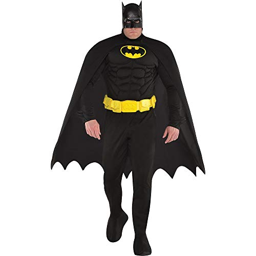 Costumes USA Batman Muscle Costume for Adults, Plus Size, Includes a Padded Jumpsuit, a Mask, and Attached Boot Covers -