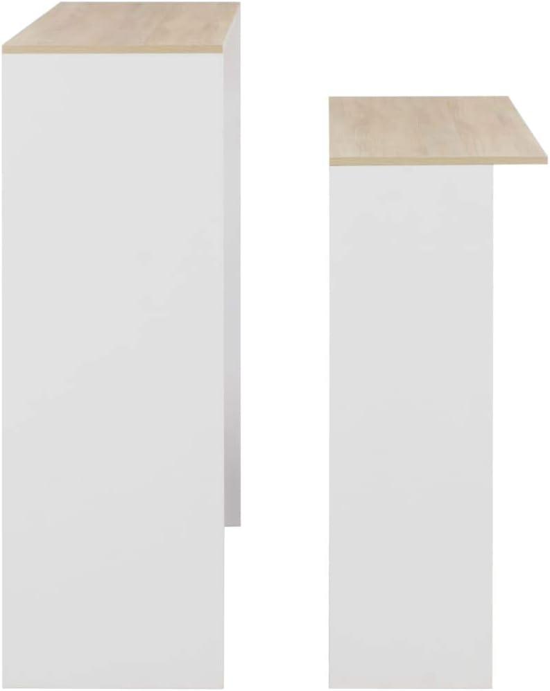 vidaXL Tavolo da Bar a 2 Livelli da Colazione Moderno Elegante Robusto Bancone Tavolino Alto da Cucina 130x40x120 cm Nero in Truciolato