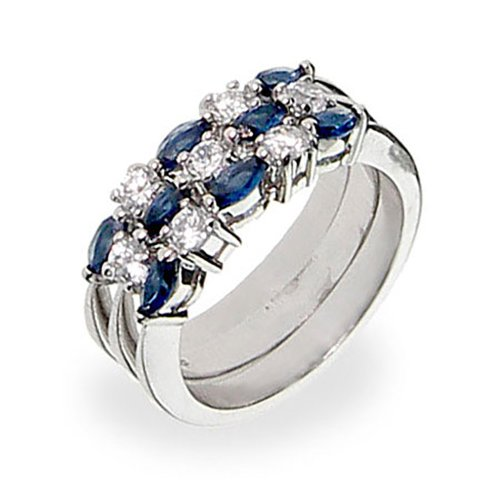 Sterling Silver Blue Stackable