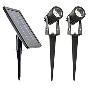 WARM WHITE - ALUMINUM Lamp - Robust Spotlights (Set of 2)//HUGE 3W Solar Panel//2500mAh Li Battery//2X16 Ft Cable//POWER ADJUSTABLE (Each 150~50 Lumen)//DUSK to DAWN even in Winter @ L Mode