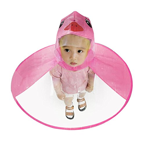 (Xindda Kids Baby Magical Hands-Free Raincoats, Cartoon UFO Umbrella Hat Yellow Duck Novelty Packable Hooded Poncho Cloak (Hot Pink, S))