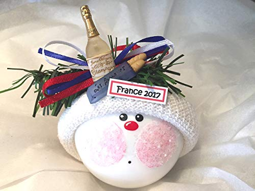 France Souvenir Gift Christmas Glass Ornament Champagne Baguette Hand Painted Handmade Personalized