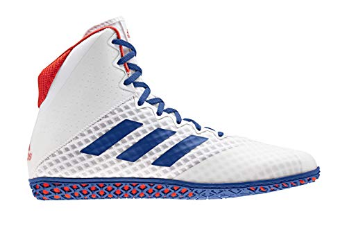 adidas Men's Mat Wizard 4 Wrestling Shoes, White/Royal/Red, Size 9.5 M US (The Best Wrestling Shoes)