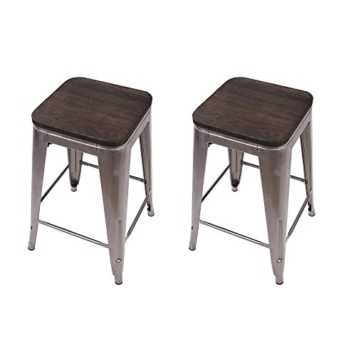 GIA 24-Inch Backless Counter Height Stool with Wooden Seat, Gunmetal/Dark Wood, 1-Pack