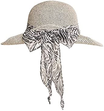 Fenside Country Clothing Ladies Wide Brim Summer Sun Hat with Patterned Bow Detail