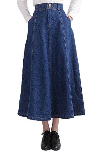 Denim Skirt Long Girls (Plaid&Plain Women's High Waist Pleated Flared Midi Long Swing Denim Skirt D-Blue 2)
