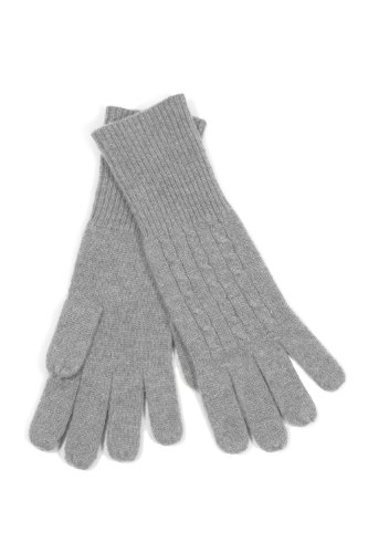 Fishers Finery Women's 100% Pure Cashmere Gloves, Ultra Plush Cable Design Gray