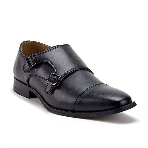 Men's D-491 Distressed Double Monk Strap Casual Loafers Dress Shoes, Black, ()