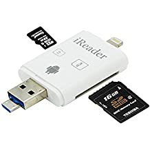 iMoreGro SD Card Reader,3 in 1 Micro SD/Memory/TF Card Adapter,Lighting Micro USB OTG Connector, Camera Card Viewer, External Storage Memory Compatible with iPhone/Android Phones/Samsung/iPad/Mac/PC
