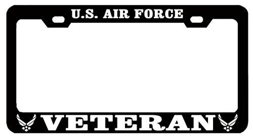 U.S. Air Force Veteran US Auto License Plate Frame Tag Metal, Weatherproof Vinyl Letters Black White Air Force Metal