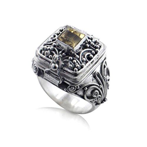 Square Genuine Citrine Poison Locket Box Sterling Silver Ring Size 6(Sizes 5,6,7,8,9,10)