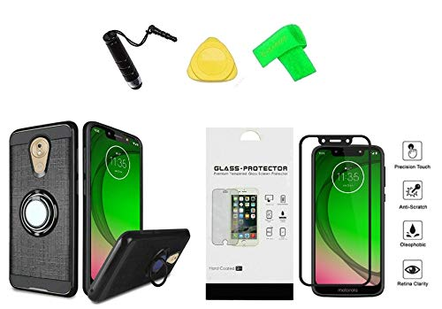 for Motorola G7 Optimo XT1952DL Magnetic Ring Stand Hybrid Cover Phone Case + Tempered Glass Protector + Extreme Band + Stylus Pen + Pry Tool (Black)