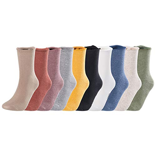 Lovely Annie Women's 5 Pairs Fashion Combed Cotton Crew Socks L1843 Size 5-11 5P5C-3(Turmeric, Dark Sea Green, Blue, Brick Red,Rosy ()