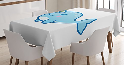 Ambesonne Narwhal Tablecloth, Cartoon Drawing Style Whale with Rainbow Horn Unicorn of The Ocean Arctic Animal, Dining Room Kitchen Rectangular Table Cover, 60 W X 84 L inches, Multicolor by Ambesonne