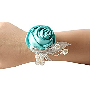 Jackcsale Fashion Wedding Bridesmaid Wrist Flower Corsage Party Hand Flower Decor with Faux Pearl Bead Wristband Tiffany Pack of 4