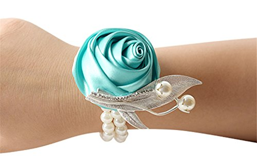 Pearl Faux Corsage - Jackcsale Fashion Wedding Bridesmaid Wrist Flower Corsage Party Hand Flower Decor with Faux Pearl Bead Wristband Tiffany Pack of 4
