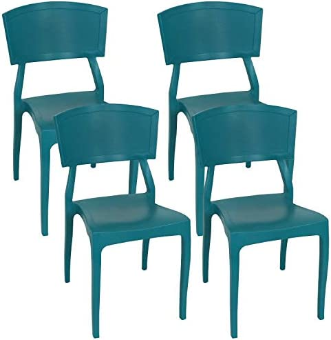 Sunnydaze Elmott Plastic Patio Dining Chair Seat – Modern Design – Deck, Lawn and Garden Seat – Indoor or Outdoor Use – Commercial Grade All-Weather – Teal – 4 Chairs