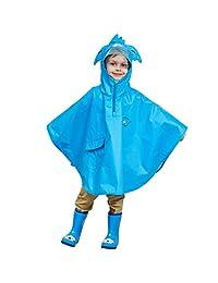 Vine Kids Rain Poncho Waterproof Outerwear Hooded Cloak Raincoat Outdoor Rainsuit