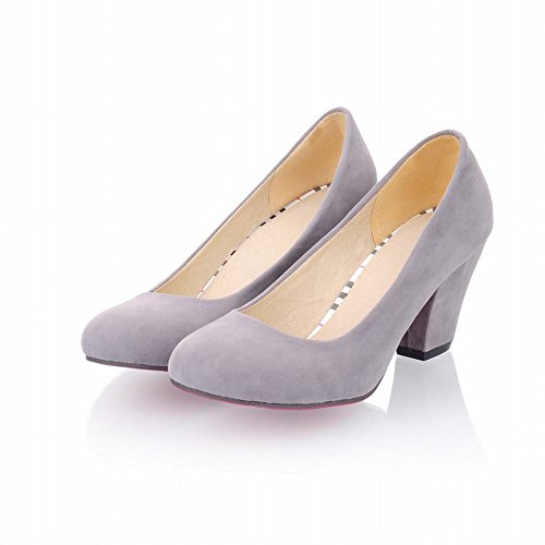 49077b57a71 best Latasa Women s Simple Faux Suede Round-toe Chunky Mid-heel Casual  Pumps Shoes