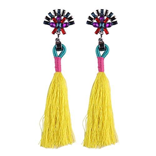 Iumer New Fashion Jewelry Rhinestone Long Earring For Women Tassel Drop Earrings Yellow