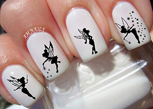 Tinkerbell Fairy Water Nail Art Transfers Stickers Decals - Set of 40]()