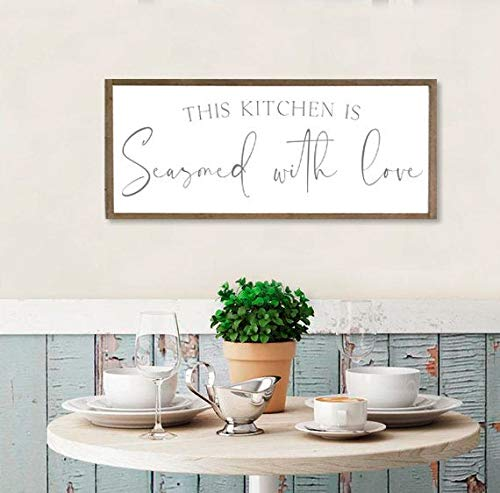Unknow kitchen sign this kitchen is seasoned with love wood sign kitchen wall decor farmhouse sign farmhouse kitchen decor