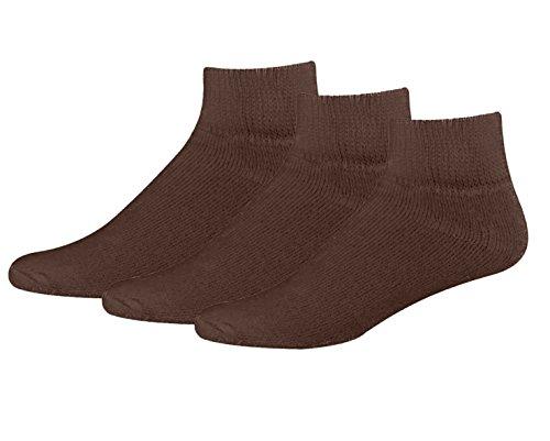 Non Binding Quarter Sock (Classic Men's Big and Tall Diabetic Non-Binding Ankle Quarter Cotton Socks 3-Pack Brown X-Large)