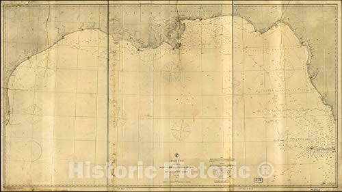 (Historic 1863 Map | Gulf Coast of The United States; Key West to Rio Grande. 43in x 24in)