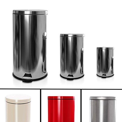 Tretmülleimer Set shiny polish | 3 Abfalleimer mit 40, 12 und 3 Litern Fassungsvermögen | mit Tretpedal | Edelstahl silber glänzend