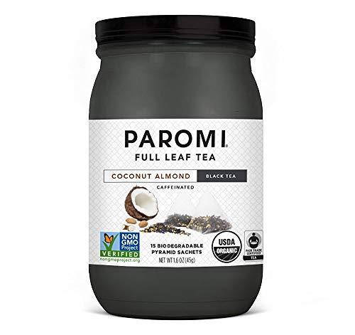 Paromi Tea Organic Coconut Almond Black Tea, 15 Pyramid Tea Bags - Non-GMO