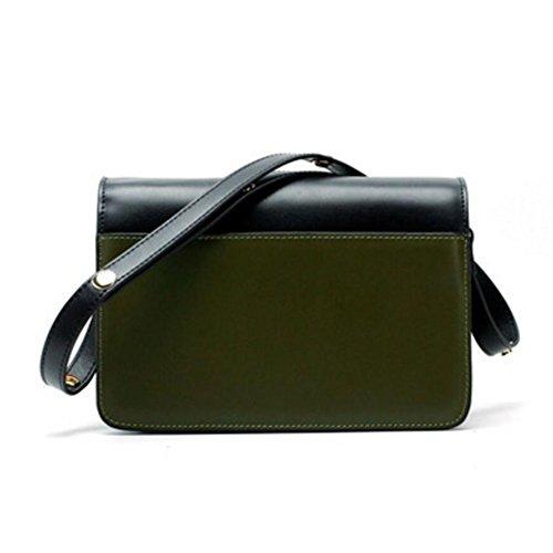 Purse Cross Cowhide Actlure Green Black body Leather Women Trunk Khaki Bag Split 8YESqwY