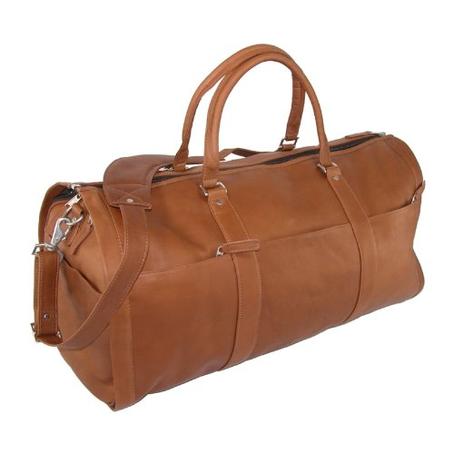Leather Impressions Leather Convertible Duffle Bag to Garment Bag, Tan