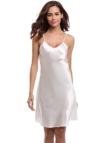 4a5d8107352 Aiboria Nightgowns for Women Satin Sleepwear Nightshirt Sexy Full Slip V  Neck Spaghetti Strap Chemise