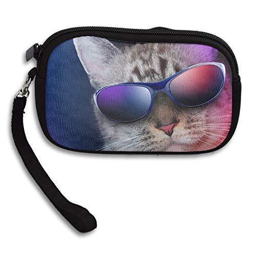ZWHUING Cool Cat Coin Purse Pouch Womens Polyester Zipper Change Holder Slim Wallet