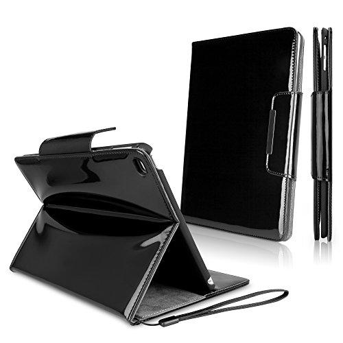 Ipad Wristlet (iPad Air 2 Case, BoxWave [Patent Leather Clutch Case] Vegan Leather Wristlet / Wallet Cover for Apple iPad Air 2 - Jet Black)