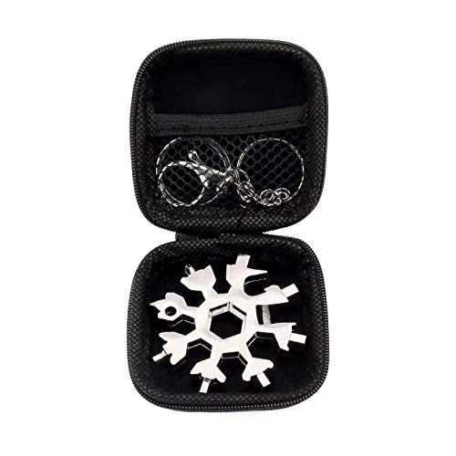 Schneeflocken Multifunktionswerkzeug 18-in-1 Edelstahl Multitool mit Aufbewahrungsbox und Schlüsselring für Outdoor (Silber)