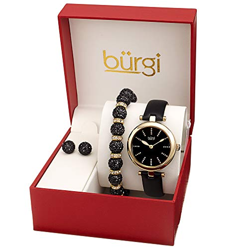 Burgi BUR241 Ladies Gift Set with a Stylish Case Watch with Leather Strap, and Glitter Markers, Crystal Beaded Bracelet and Crystal Earrings (Gold Tone/Black) ()